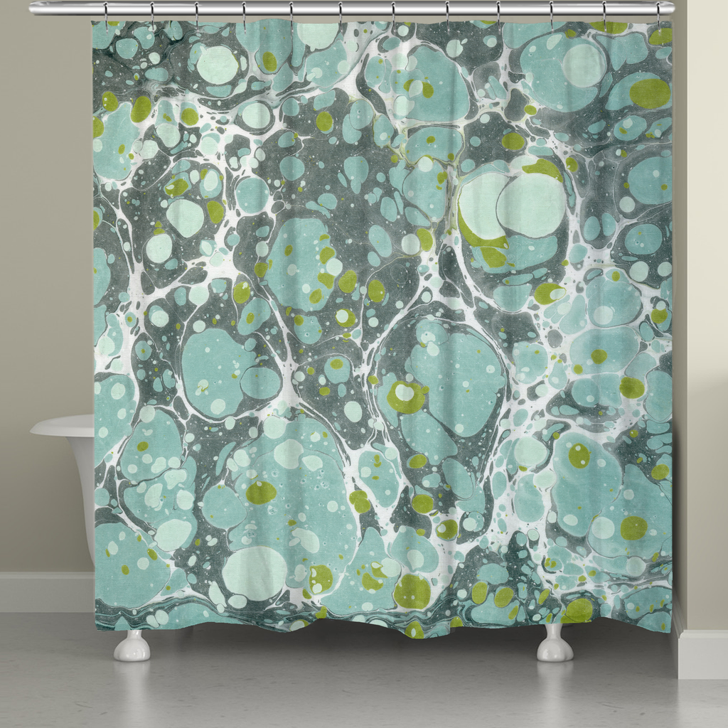 Dusty Teal Marble Shower Curtain