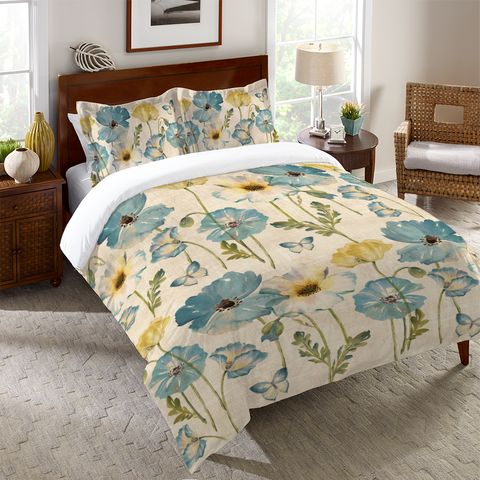 Teal Watercolor Poppies Duvet Cover