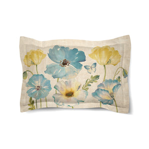 Teal Watercolor Poppies Duvet Sham