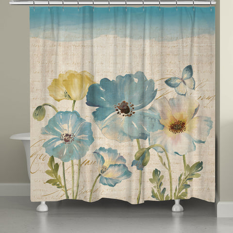 Teal Watercolor Poppies Shower Curtain