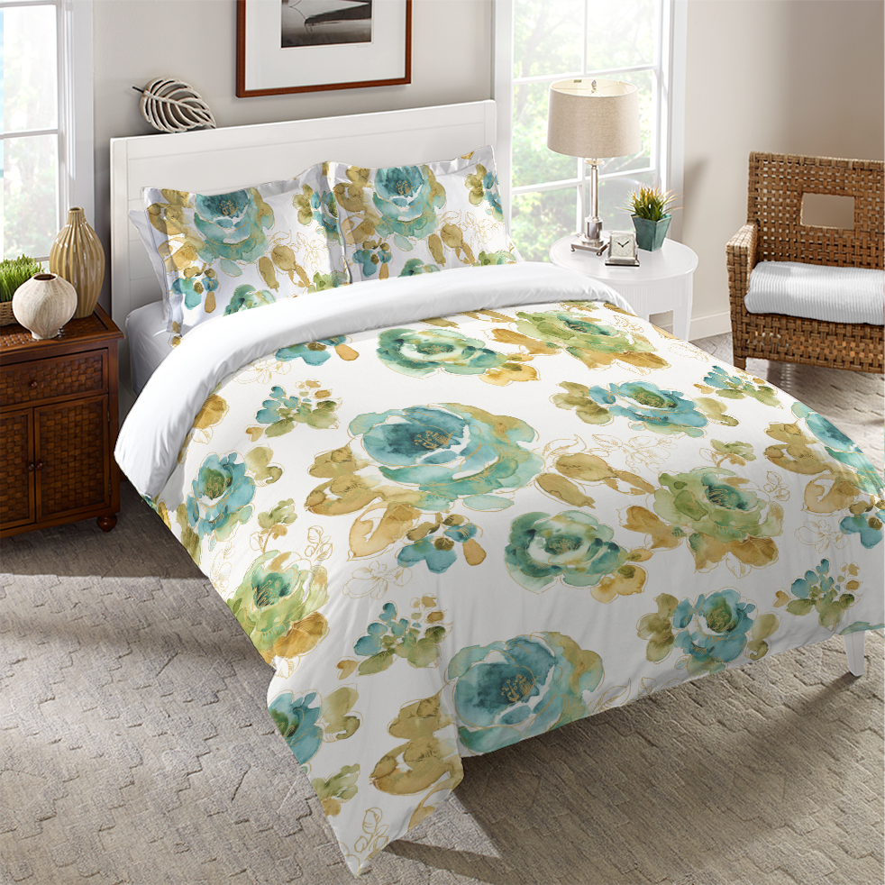 Teal Gold Floral Duvet Cover