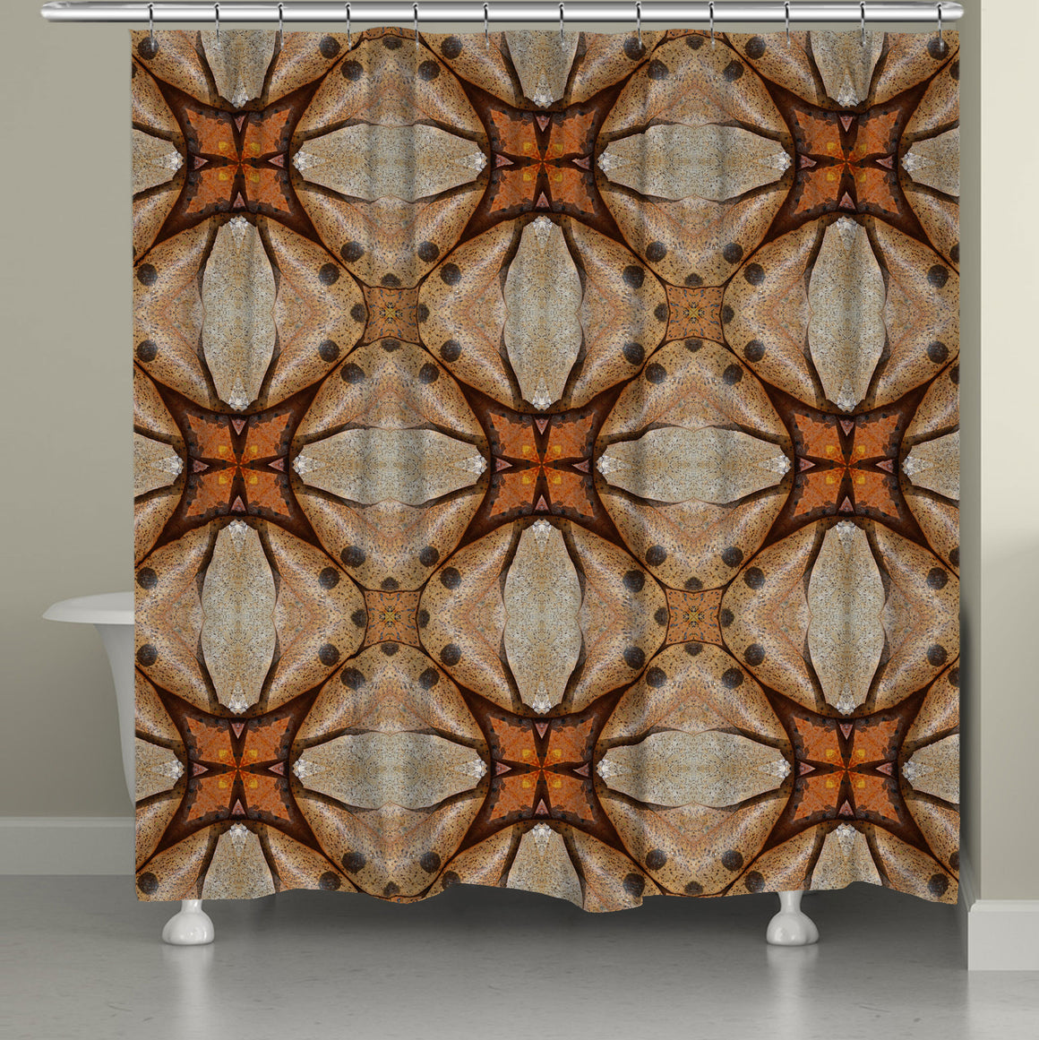 Terra Cotta Magnolia Leaves Shower Curtain