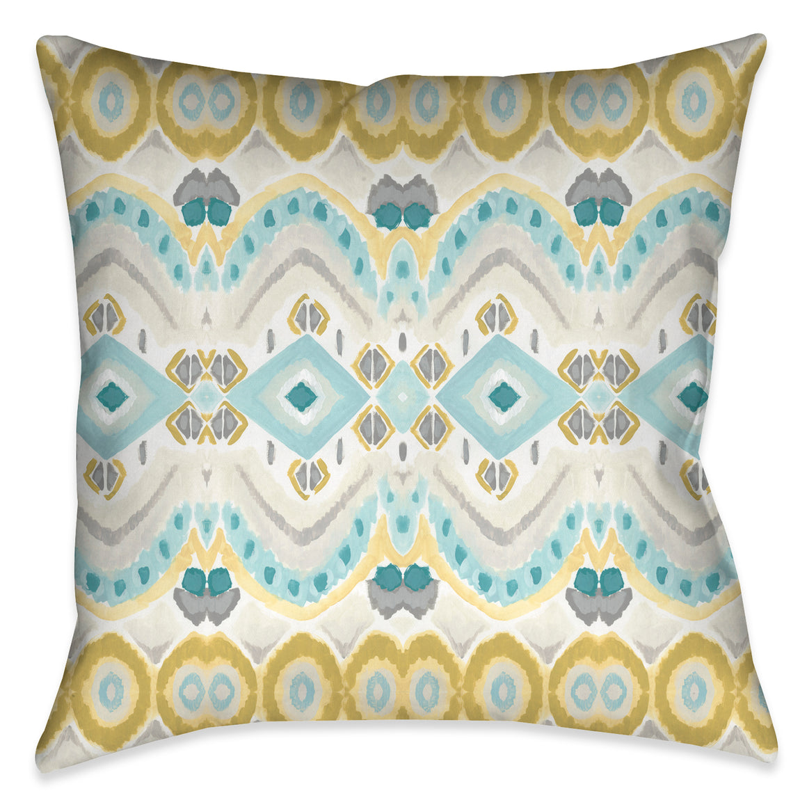 The design motif on this outdoor decorative pillow evokes a unique artistic hand quality exposing a beautiful tile-like impression through painterly strokes.