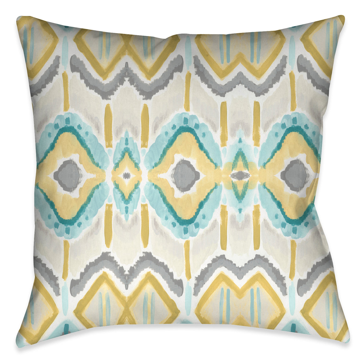 The design motif on this outdoor decorative pillow evokes a unique artistic hand quality, exposing a beautiful tile-like impression through painterly strokes.