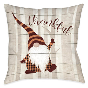 Thankful Gnome Outdoor Decorative Pillow