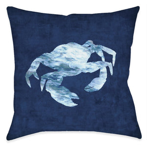 The Abyss Blue Crab Outdoor Decorative Pillow