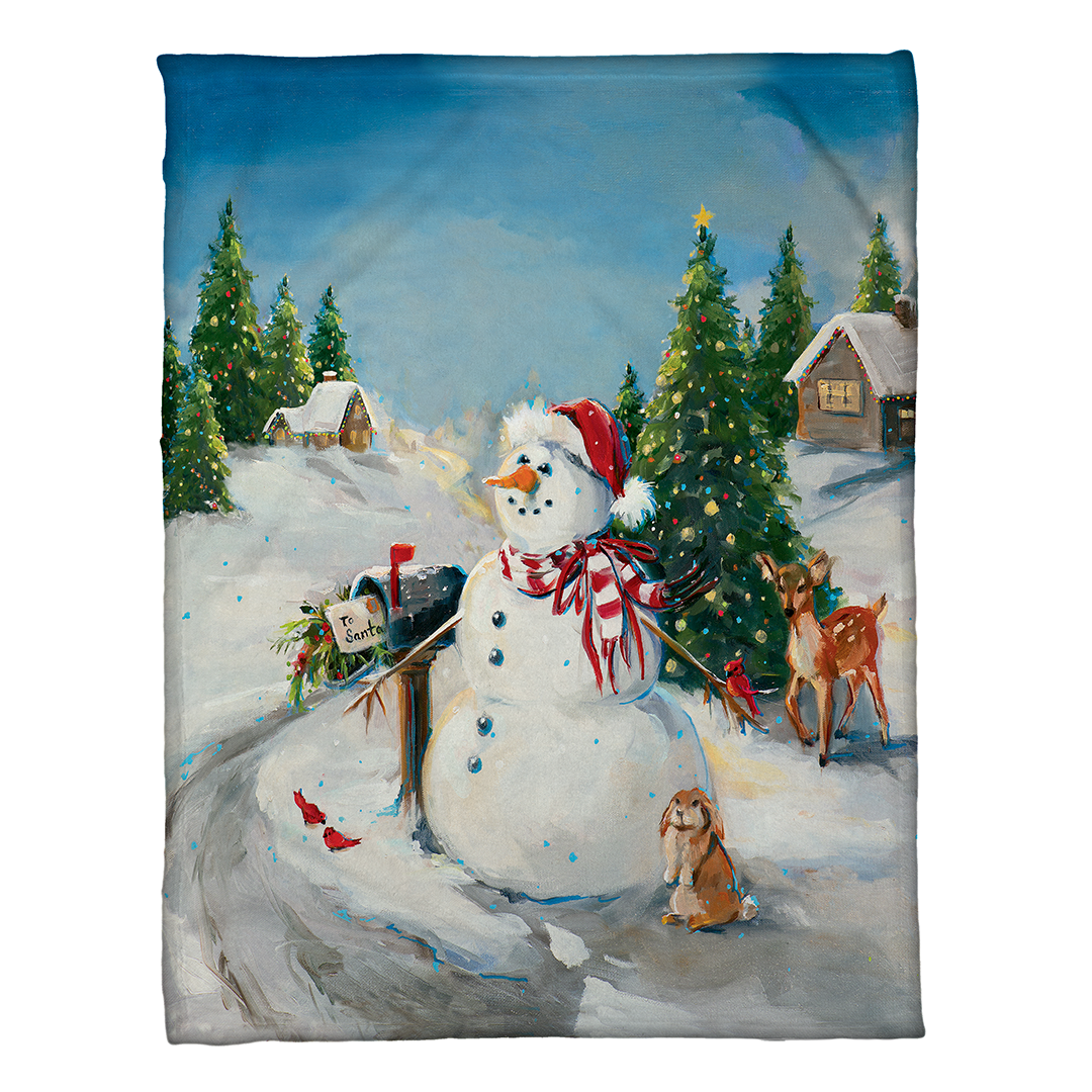 Snowman Fleece Throw