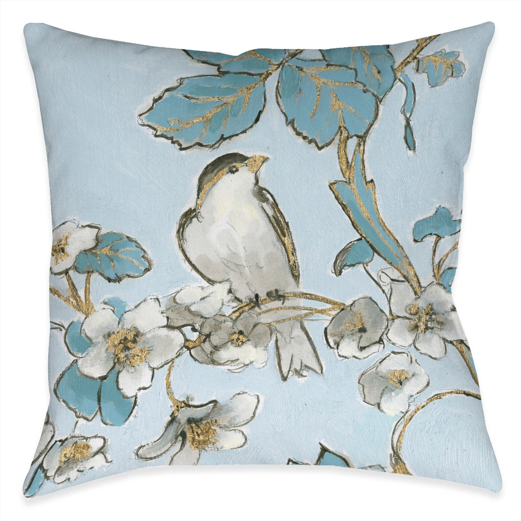 Toile Flower Bird Indoor Decorative Pillow