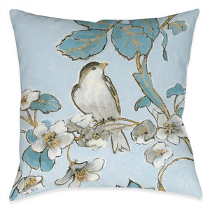 Toile Flower Bird Outdoor Decorative Pillow