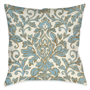 Antique Damask Outdoor Decorative Pillow