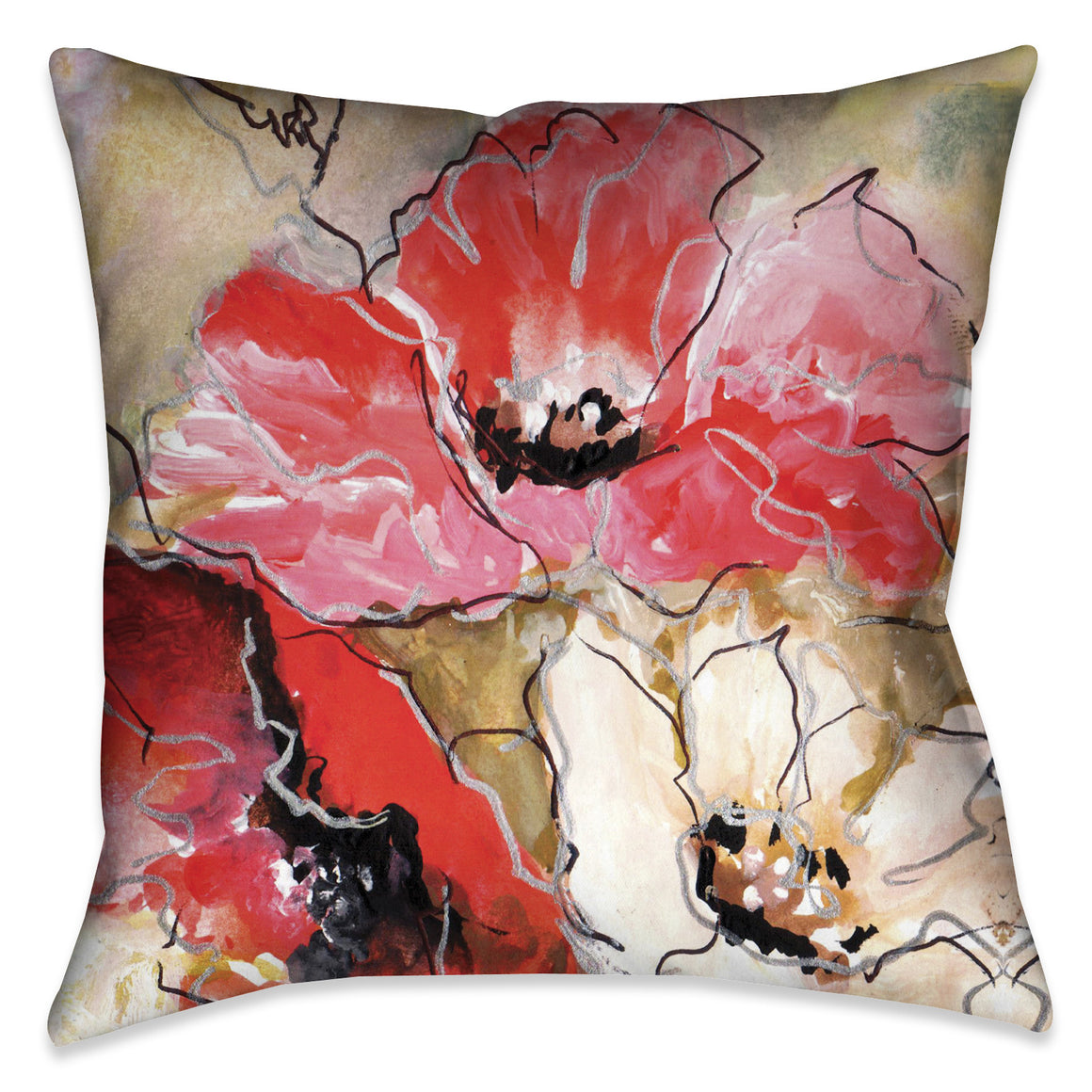 Triple Poppy Indoor Decorative Pillow