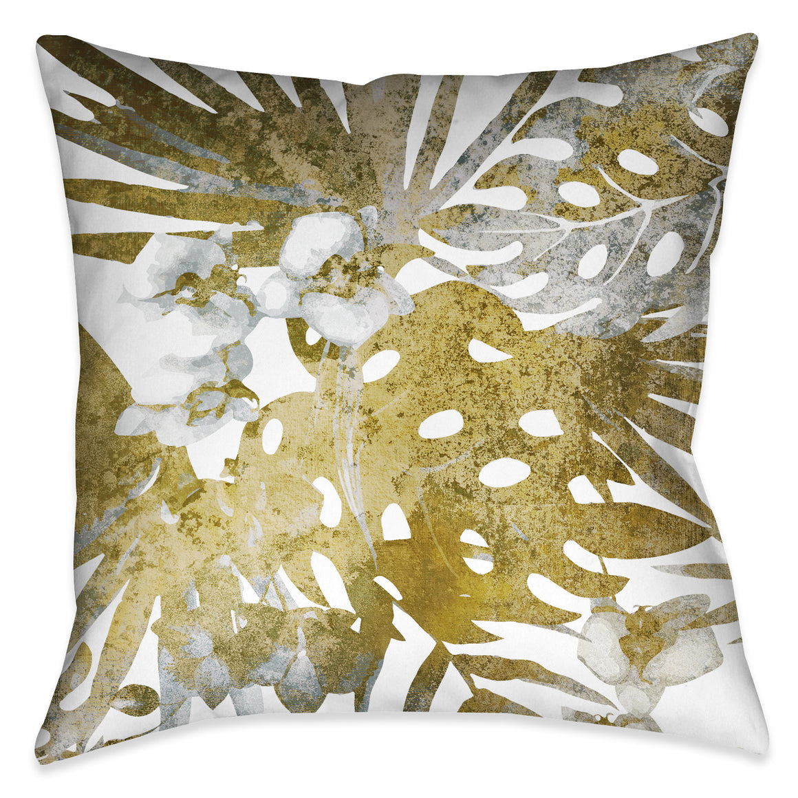 Gilded Tropical Bloom II Outdoor Decorative Pillow