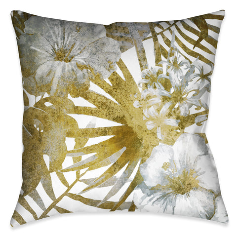 Gilded Tropical Bloom I Outdoor Decorative Pillow