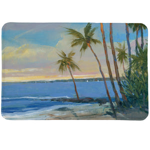 Tropical Breeze Memory Foam Rug features a photorealistic beach scene with palm trees swaying in the wind.