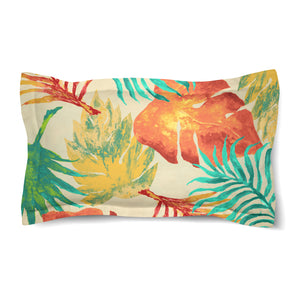 Tropical Havana Palm Leaves Duvet Sham