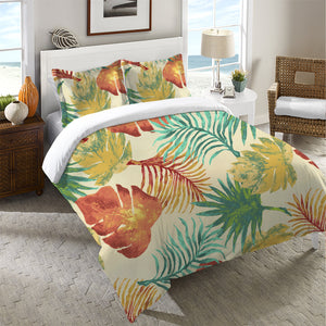 Tropical Havana Palm Leaves Duvet Cover