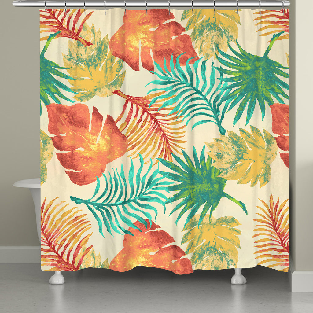 Tropical Havana Palm Leaves Shower Curtain Laural Home