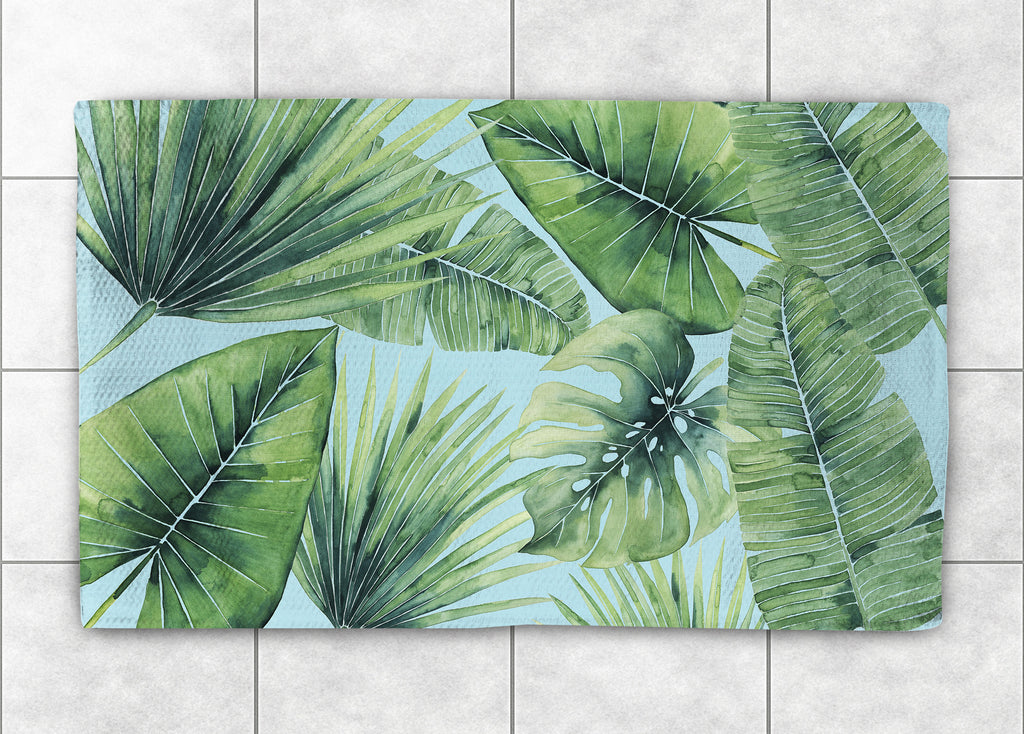 tropical palm tree leaves accent rug laural home. Black Bedroom Furniture Sets. Home Design Ideas