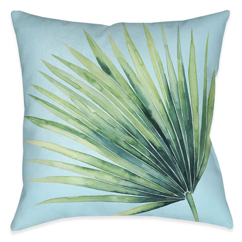 Tropical Palm Tree Leaves II Outdoor Decorative Pillow