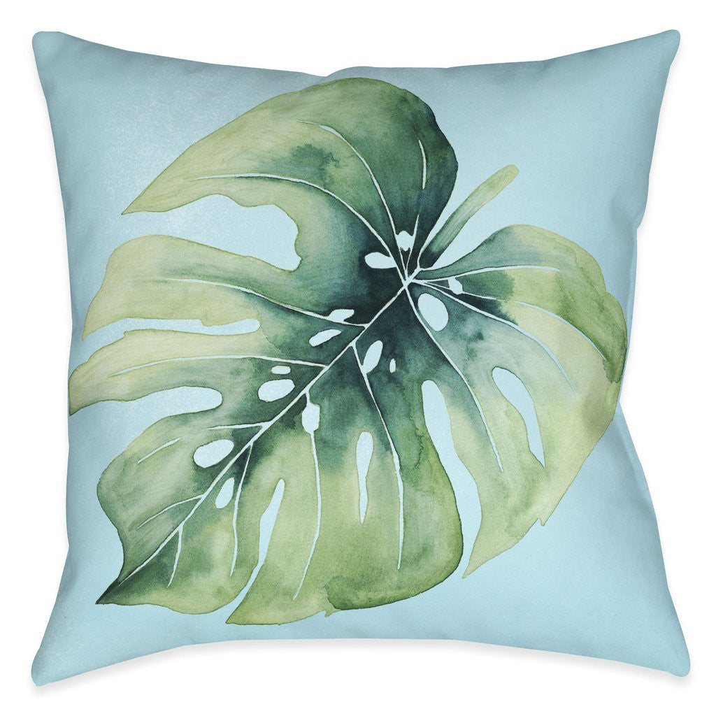 Tropical Palm Tree Leaves I Outdoor Decorative Pillow
