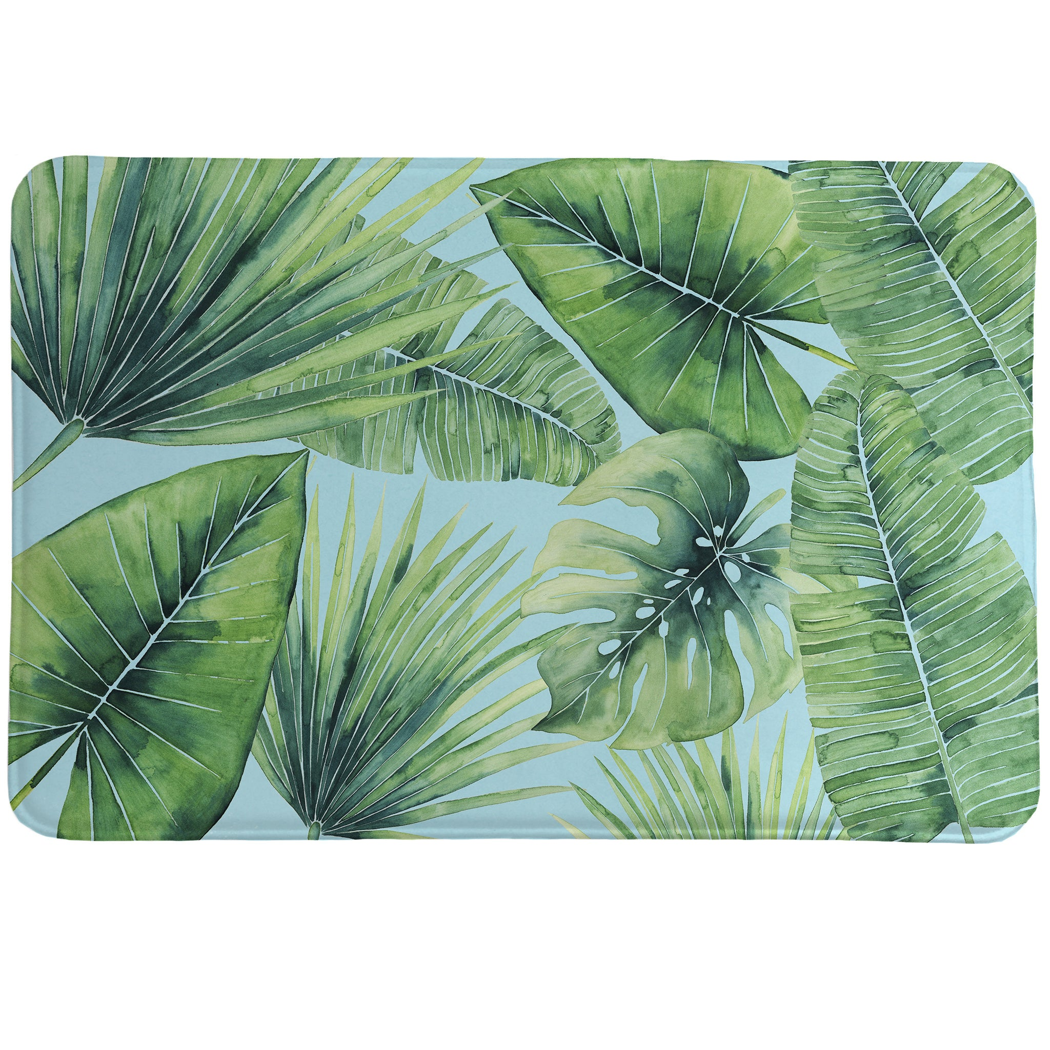 Tropical Palm Tree Leaves Memory Foam Rug Laural Home