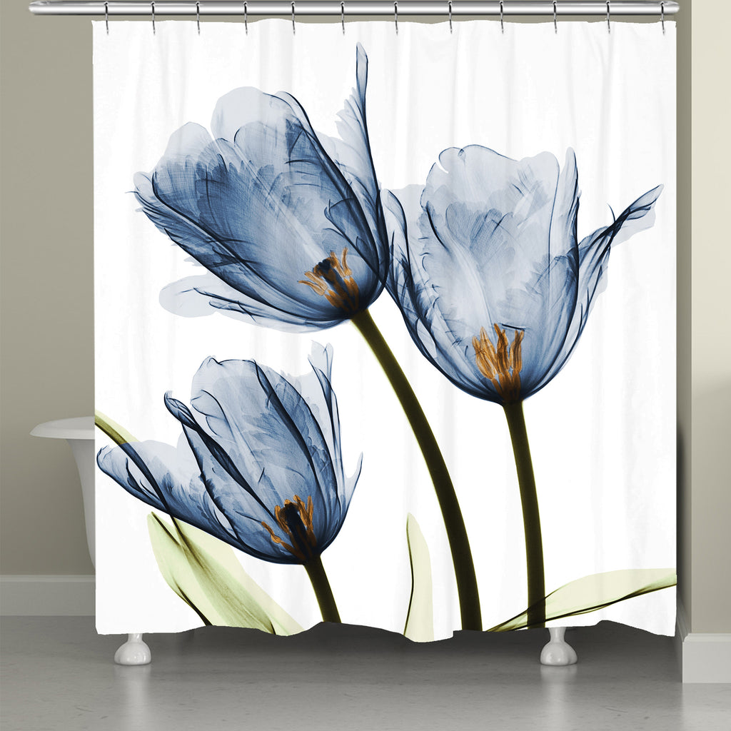 Blue Tulip Trio X-Ray Flowers Shower Curtain – Laural Home