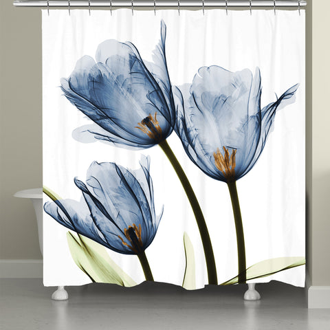Blue Tulip Trio X Ray Flowers Shower Curtain
