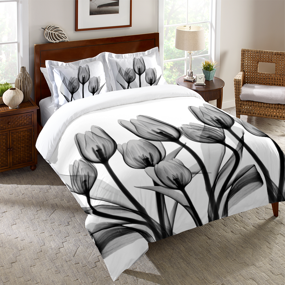 Monochromatic Black Tulips Duvet Cover