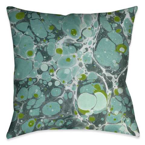 Turquoise Marble I Outdoor Decorative Pillow