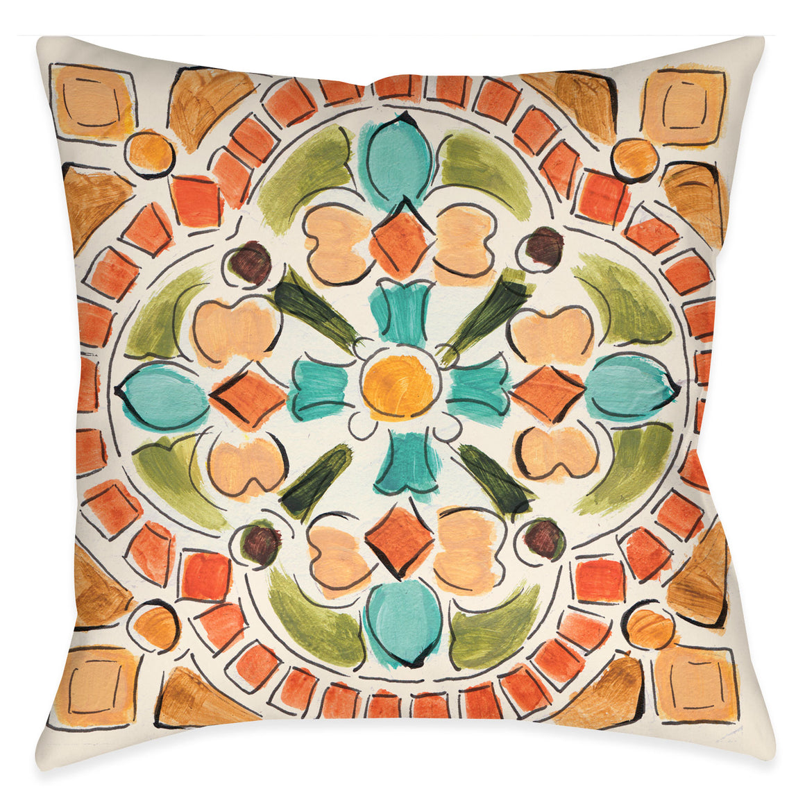 Add this painterly tuscan-tile inspired pillow to your decor for a unique worldly look.