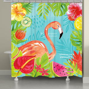 Tutti Fruity Flamingo Shower Curtain