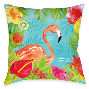 Tutti Fruity Flamingo Outdoor Decorative Pillow