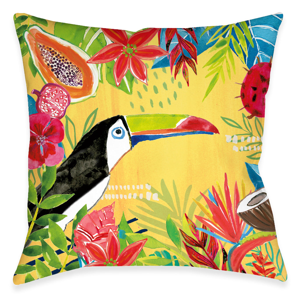 Tutti Fruity Toucan Outdoor Decorative Pillow