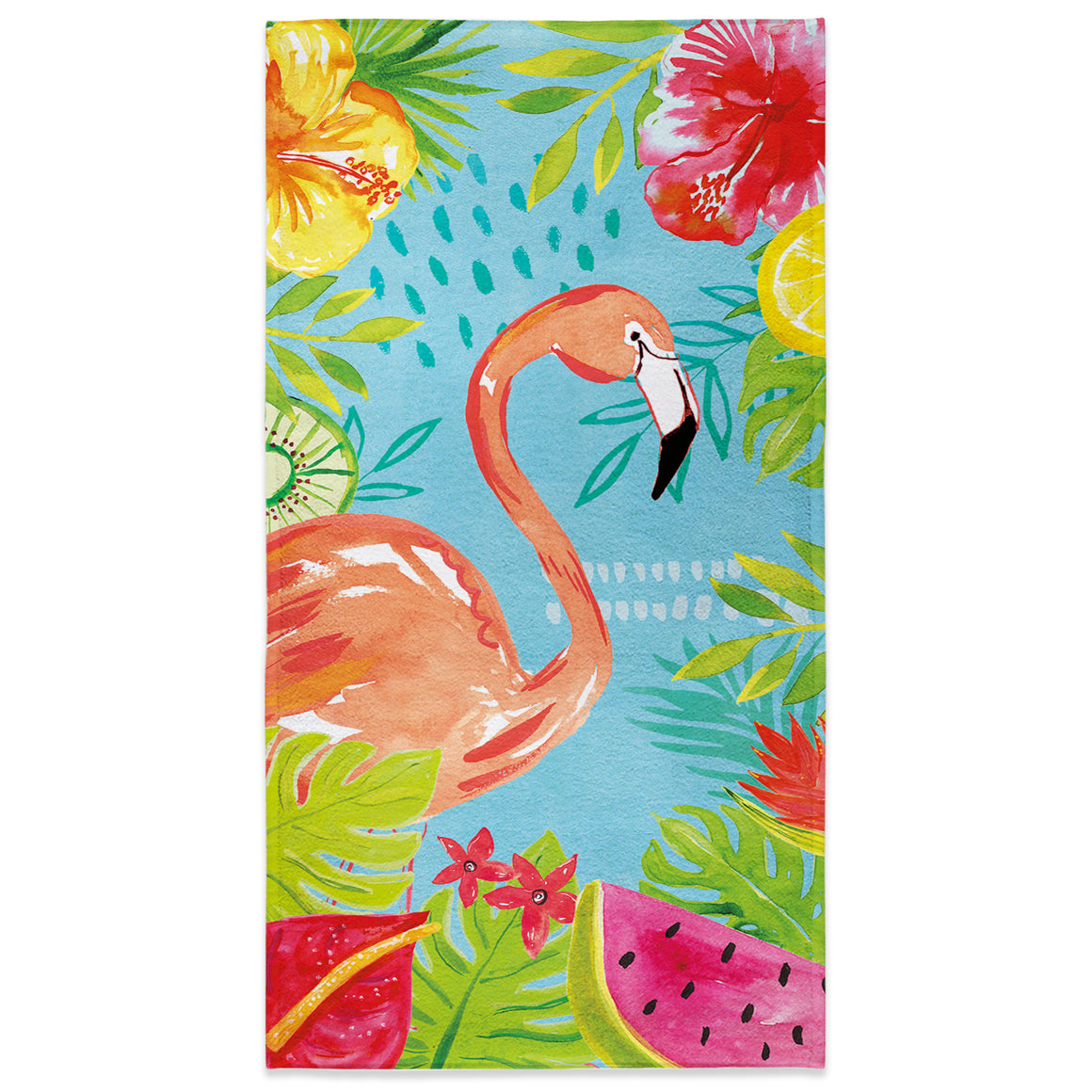 Tutti Fruity Flamingo Beach Towel