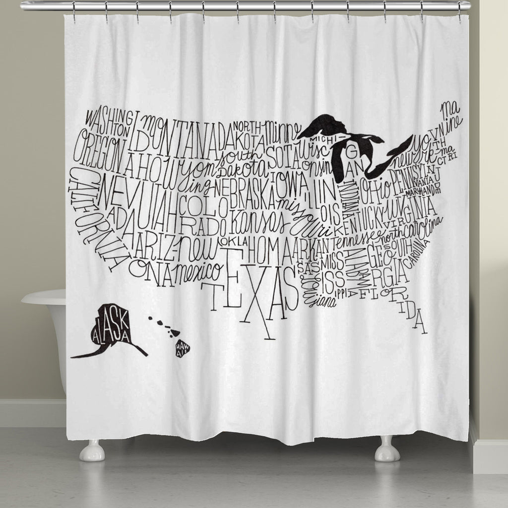 Charming Black And White Shower Curtains Part - 8: Hand Lettered US Map Black And White Shower Curtain