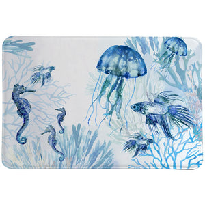 Undwater Blues Memory Foam Rug