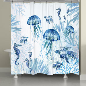 Undwater Blues Shower Curtain