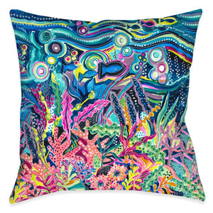 Underwater City Life Outdoor Decorative Pillow