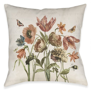 Vintage Bloom Bunch Outdoor Decorative Pillow