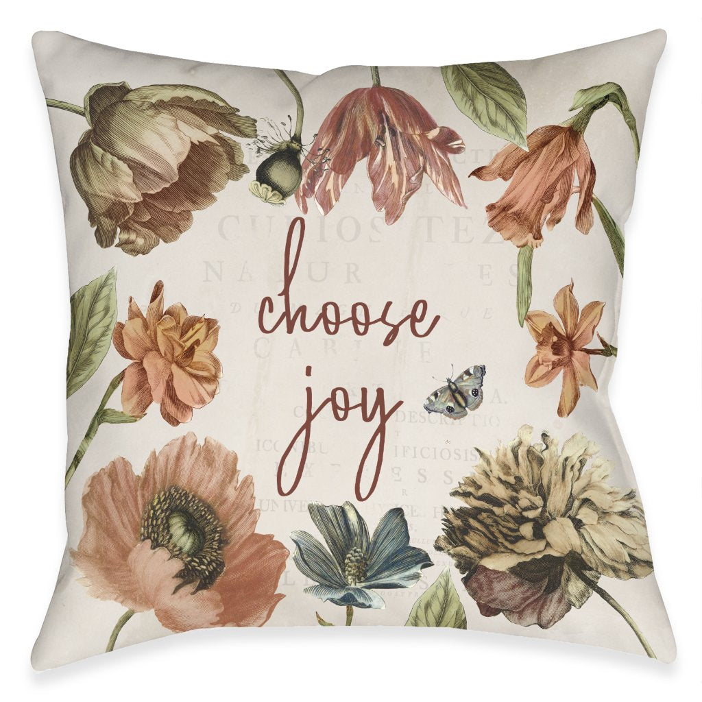Vintage Bloom Joy Outdoor Decorative Pillow
