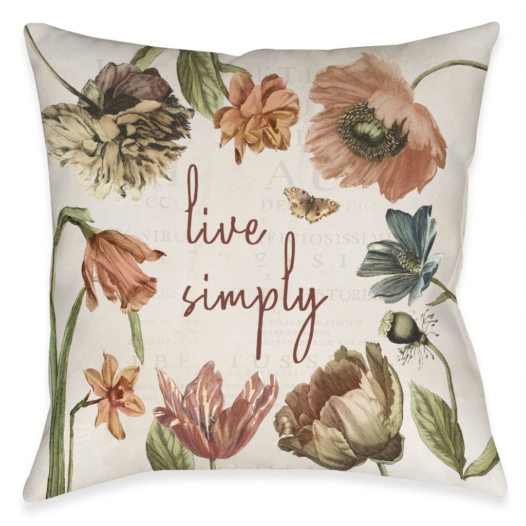 Vintage Bloom Simply Outdoor Decorative Pillow