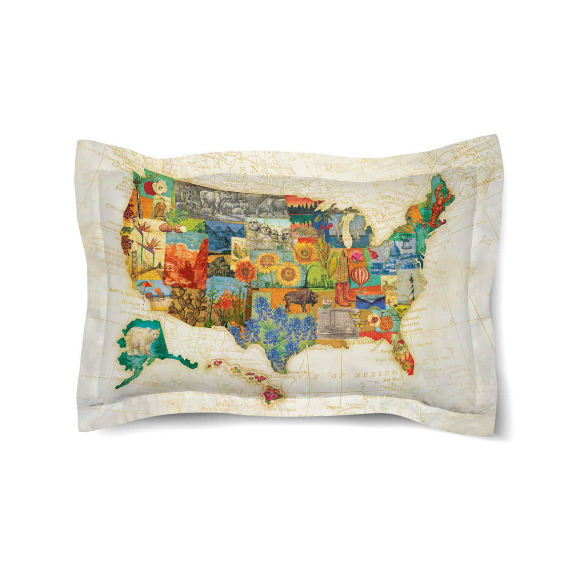 Vintage Travel Map Duvet Sham