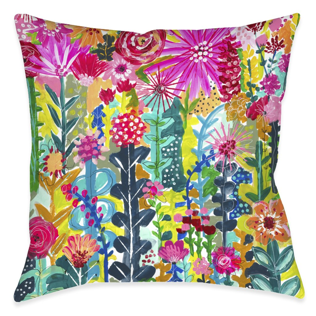 Vivid Floral Cluster Outdoor Decorative Pillow