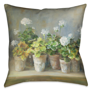 White Geraniums Indoor Decorative Pillow