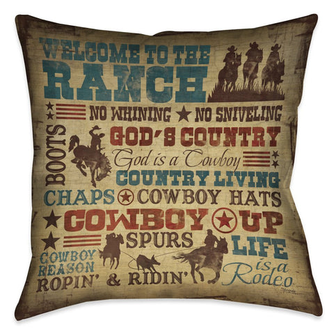 Welcome to the Ranch Outdoor Decorative Pillow
