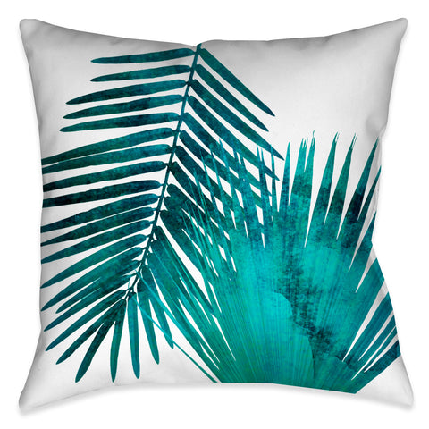 Watercolor Teal Palms II Outdoor Decorative Pillow