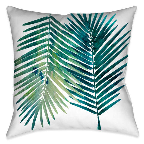 Watercolor Teal Palms I Outdoor Decorative Pillow