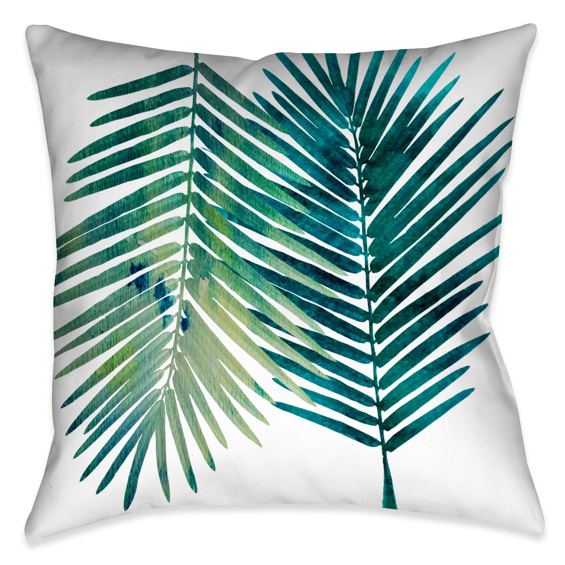 Watercolor Teal Palms I Indoor Decorative Pillow