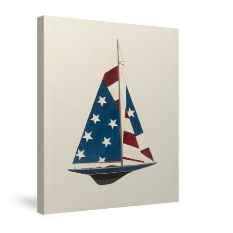 American Flag Sailboat Canvas Wall Art