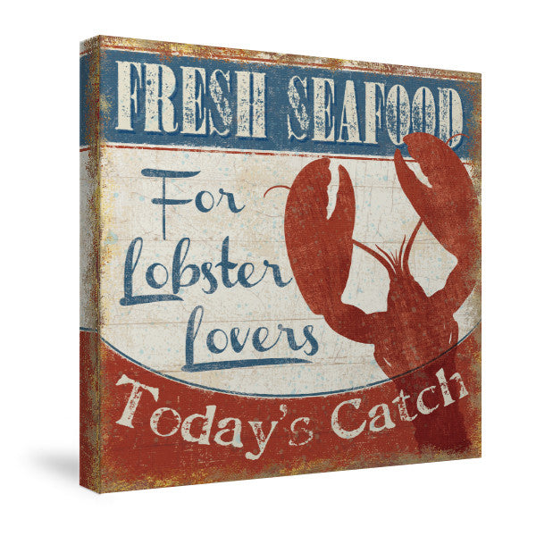 Fresh Seafood Lobster Canvas Wall Art